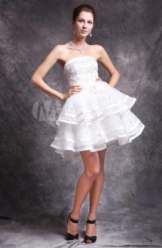 Ivory Tiered Knee Length Satin Bridal Short Wedding Dress