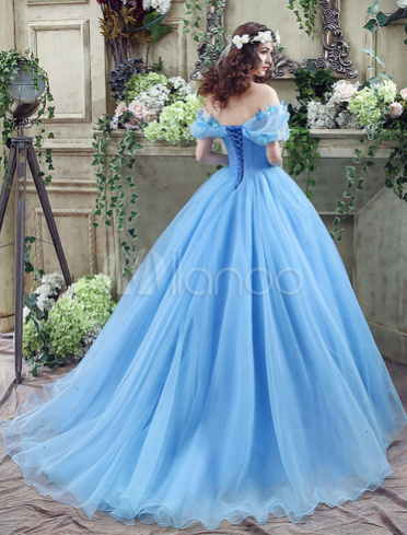 Cinderella Dress Blue Organza Tulle Off the Shoulder Ball Gown