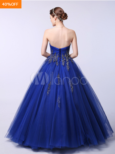 Blue Wedding Dress Lace Applique Beading Sweetheart Strapless Ball Gown