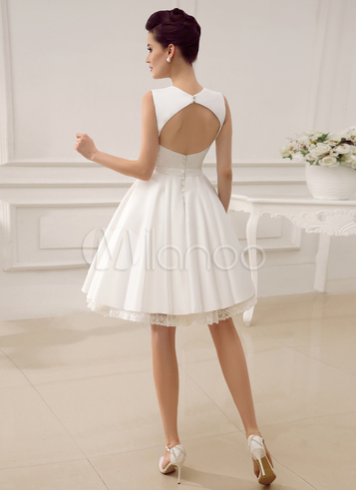 Backless Short Wedding Dress