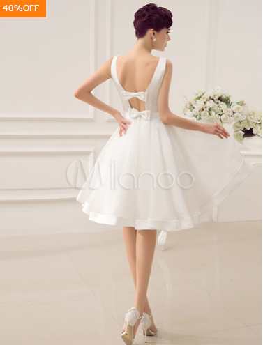 Backless A-line Short Wedding Dress