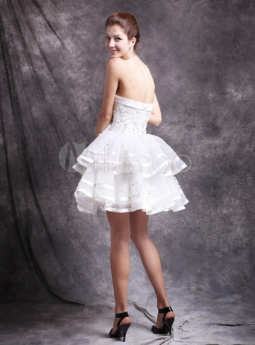Ivory Tiered Knee Length Satin Bridal Short Wedding Dress