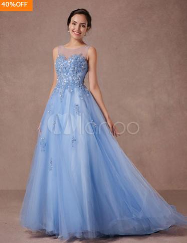 Blue Lace Wedding Dress Tulle Bridal Gown Illusion Neckline Applique Beading A-line Pageant Dress