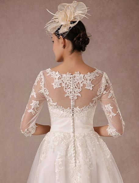 Vintage robe de mariée courte manches courtes en dentelle