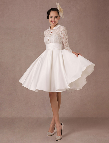 Vintage Wedding Dress Long Lace Sleeves Satin Bridal Gown Short Knee Length