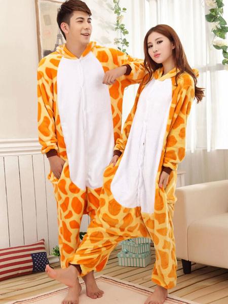 Kigurumi Pajamas Giraffe Onesie For Adult Flannel Animal Couple Costume