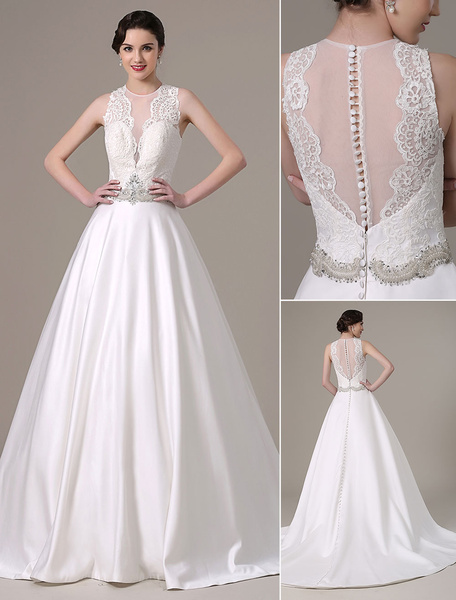 2016 Satin And Lace Ball Gown Wedding Dress Pleated Sheer Bodice And Crystal Beading Belt With Deep V-Neck