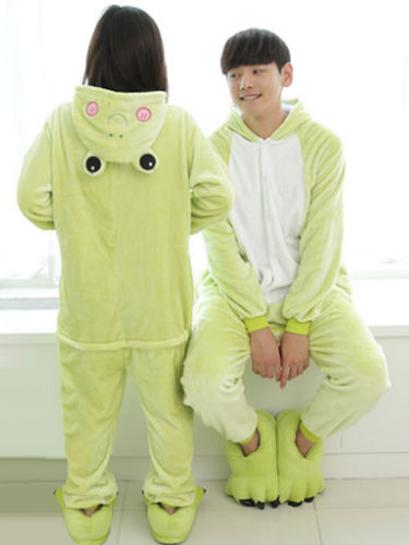 Kigurumi Pajama Frog Onesie Flannel Animal Couple Costume