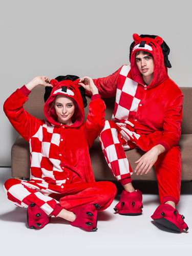 Kigurumi Pajama Lion Onesie For Adult Flannel Red Checkered Animal Couple Costume Sleepwear