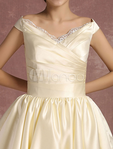 Short Wedding Dresses Satin Vintage Princess Bridal Dress