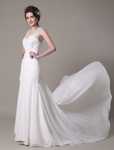 Ivory Wedding Dress Mermaid Queen Anne Lace Chiffon Wedding Gown