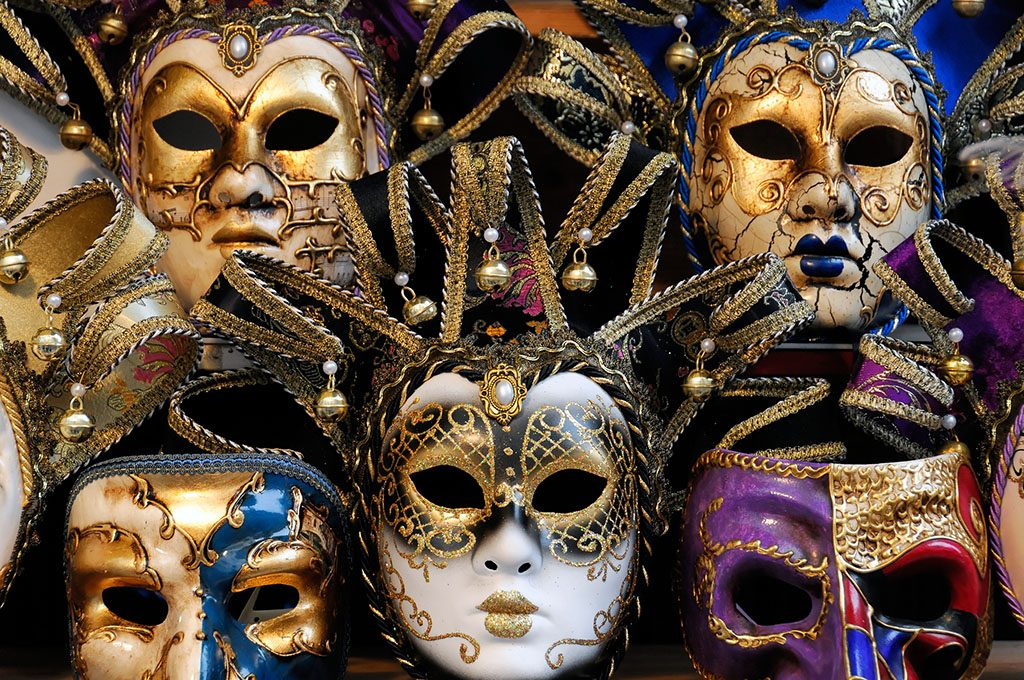 Masks on a stall, Carnival in Venice, Veneto, Italy, Europe