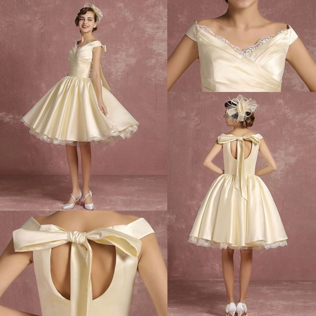 Short Knee-Length Vintage Wedding Dress