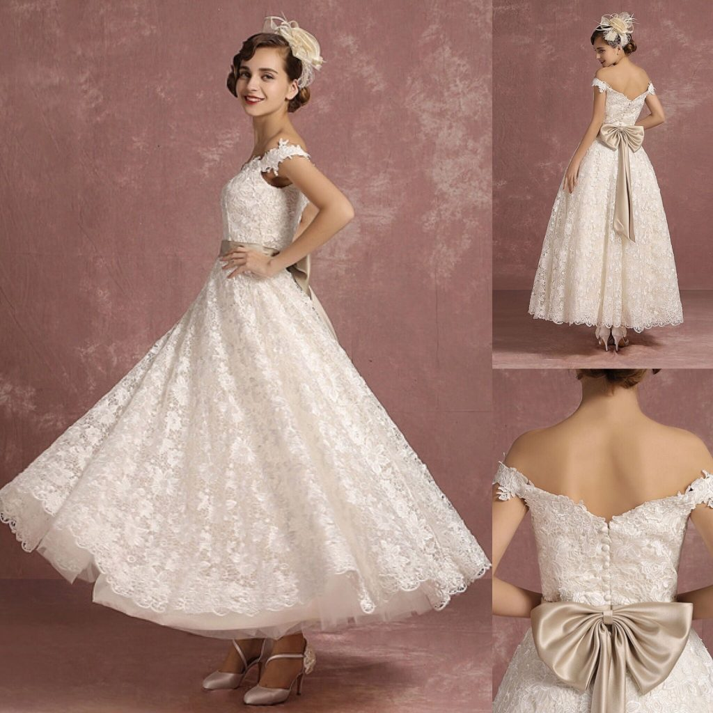 Lace Vintage Sweetheart A Line Off The Shoulder Wedding Dress