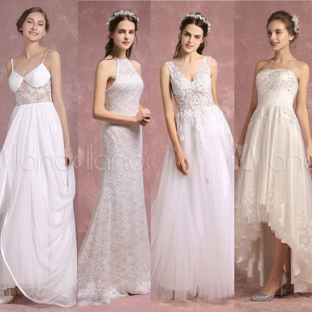 four beach wedding dress styles