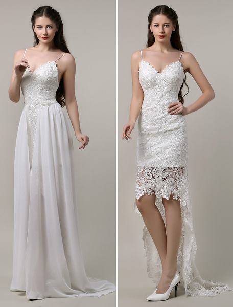 Spaghetti strap wedding gown