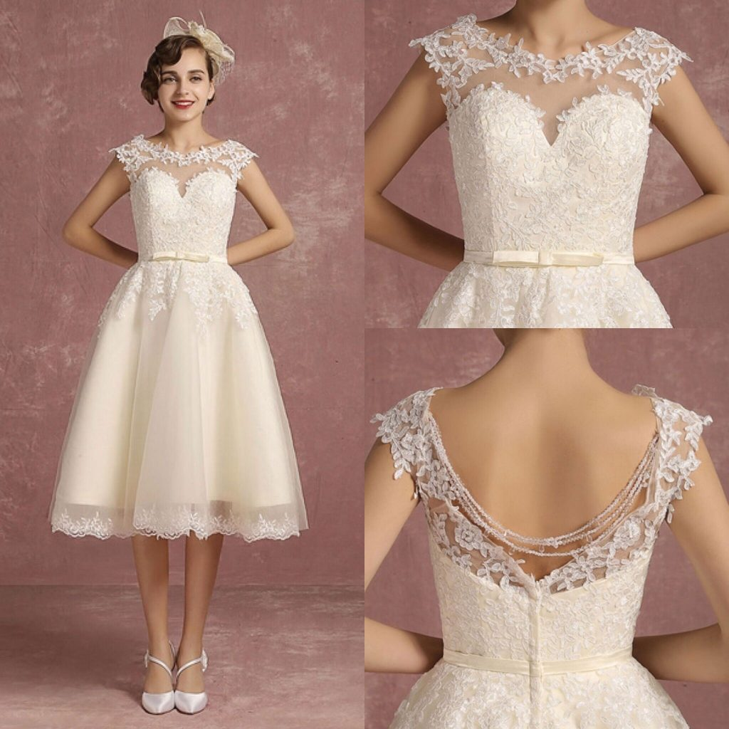 Tea Length Lace Illusion Vintage Bridal Dress Backless Chains