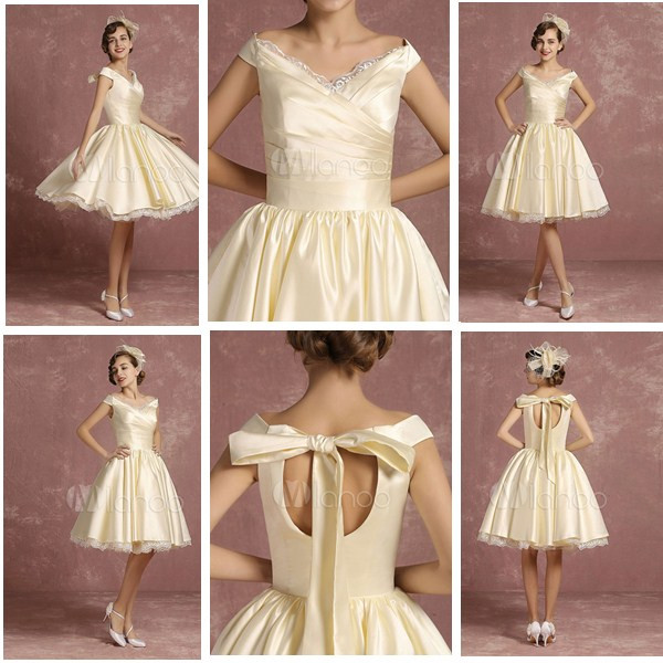 Short Wedding Dresses Satin Vintage Princess Bridal Dress Knee Length Sleeveless Lace Edge Pleated Bridal Gown With Ribbon Bow