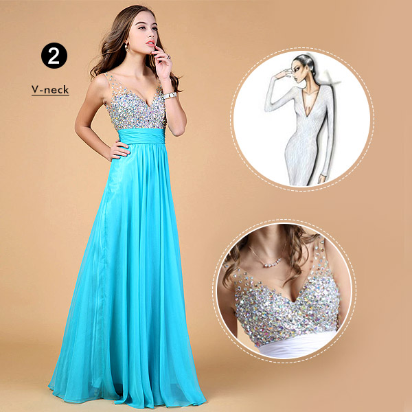 Prom Dress with V-neck