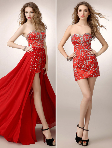 Sheath Red Rhinestone Splitting Chiffon Prom Dress with Sweetheart Neck