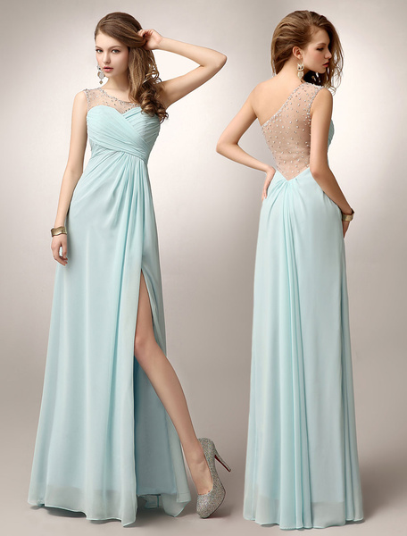 One-Shoulder High Split Ruched Prom Dress