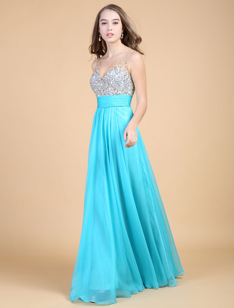 Backless Beaded Prom Dress