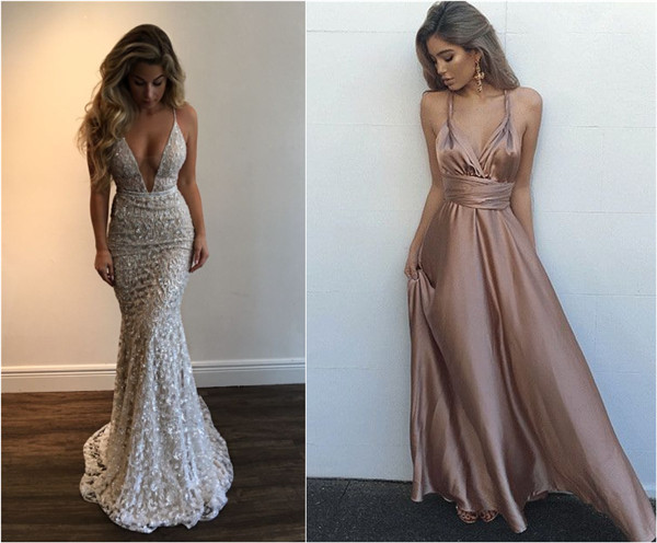 Deep V neck long prom dress