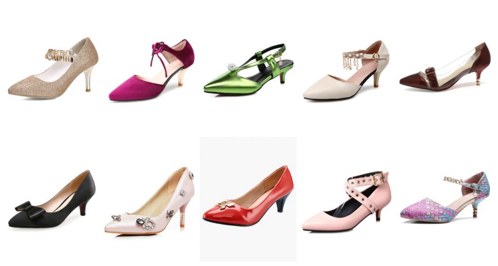 diverse styles of kitten heels
