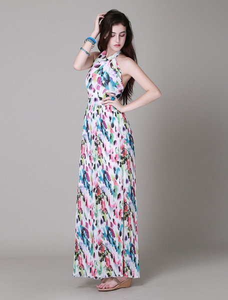 Hot Sale Maxi Dress With Floral Print Backless Long Beach Dresses For Women