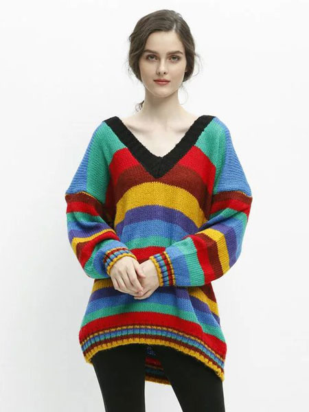 V Neck Sweater Striped Color Block Oversized Loose Pullovers
