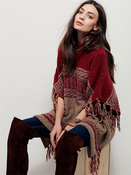 Burgundy Pullover Sweater High Collar Half Sleeve Fringe Women's Knit Sweater