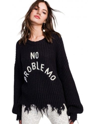 Black Pullover Sweater Embroidered Fringes Round Neck Long Puff Sleeve Oversized Casual Sweater