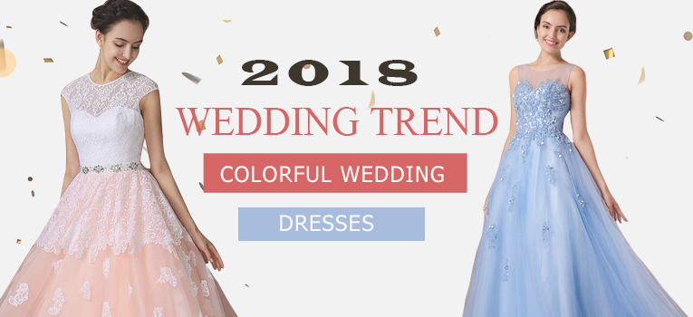 blue wedding dresses and pink wedding dresses