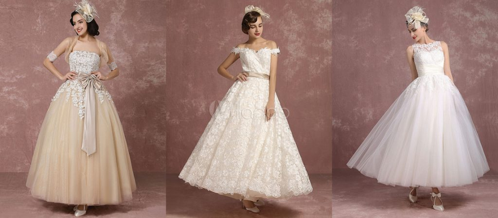 tea-length and ankle-length wedding gowns are perfect for you.