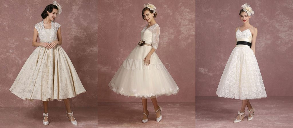 tea-length and ankle-length wedding gowns