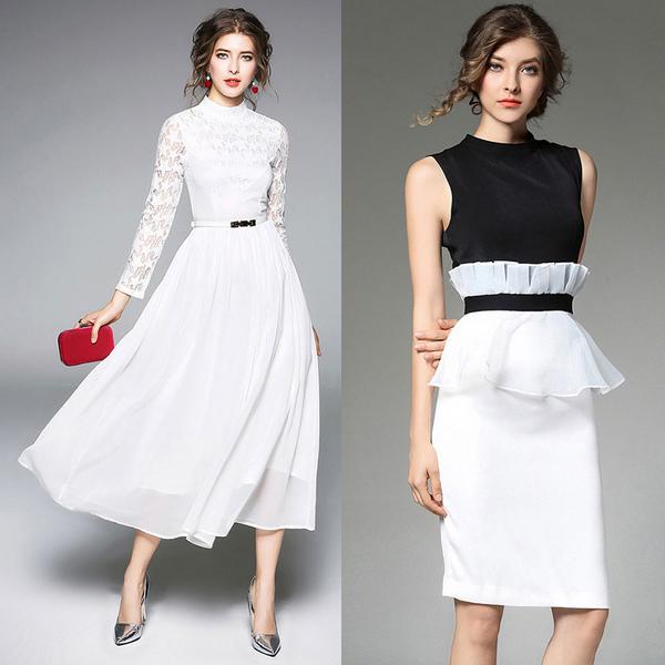 mature white dresses
