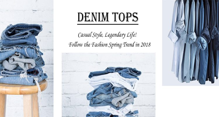 denim tops including denim jackets, denim shirts and denim corsets