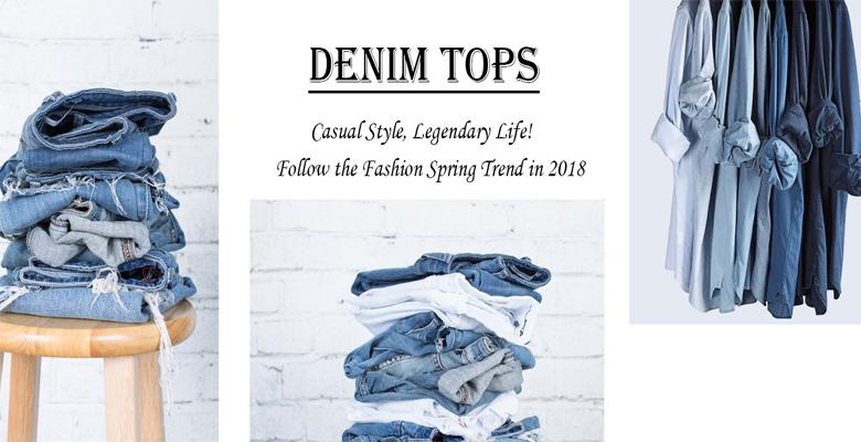 denim tops including denim jackets, denim shirts and denim corsets