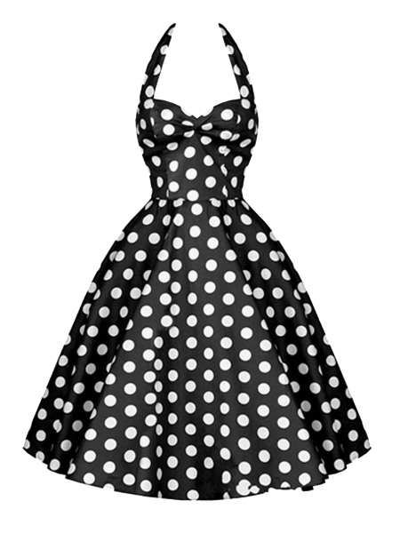 Black Polka Dots Pin Up Vintage Dress