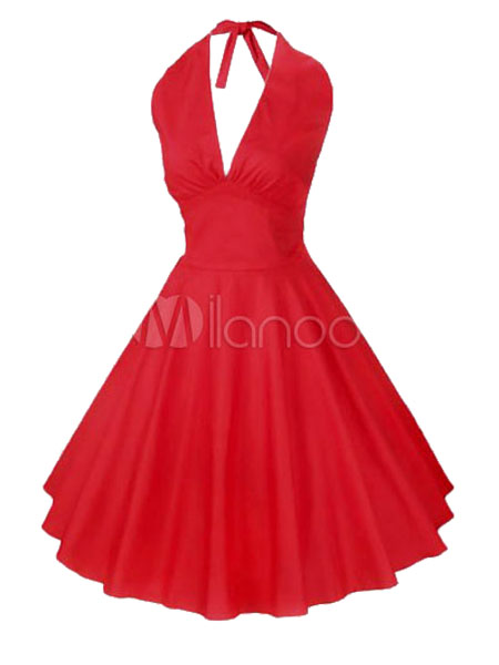 Sexy Red Swing Retro Dress