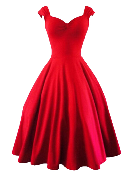 Red Sweetheart Sleeveless Vintage Dress