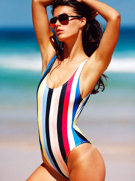 Multicolor Vertical Striped Beach Bathing Suit