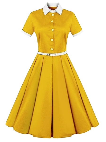 Short Sleeve Midi Dress Belted Retro Swing Dress
