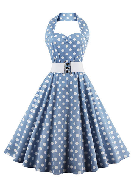 Light Blue Polka Dots Halter Dress