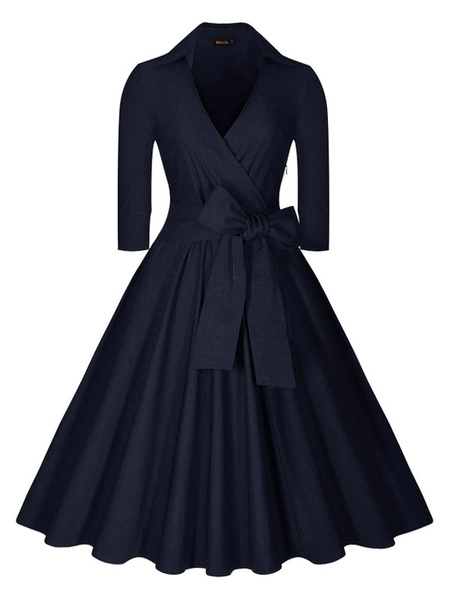 Deep Blue Long Sleeve V Neck Circle Dress With Bow