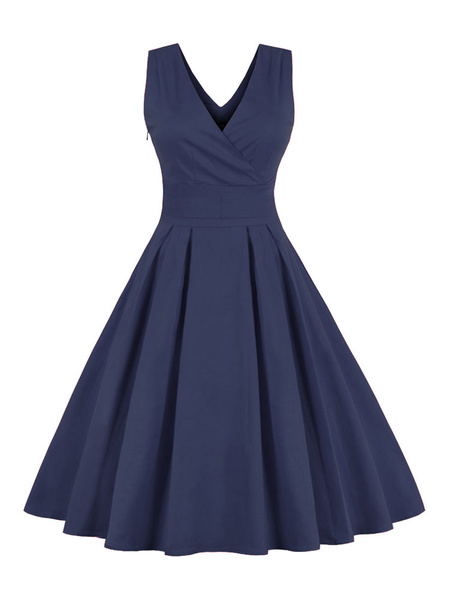 Blue-Grey Sleeveless Retro Dress with Pleated Skirt