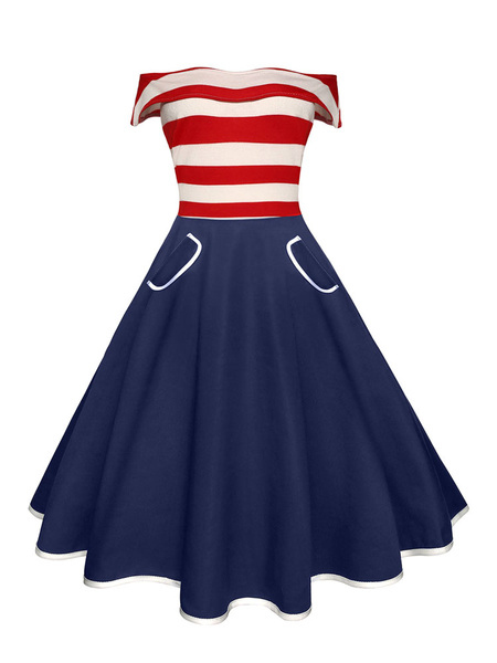 Off-the-Shoulder Sailor Style Dress