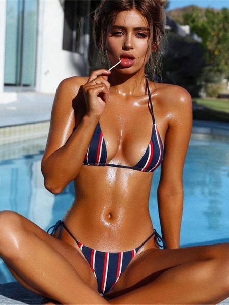 Women Halter Striped Low Waist Sexy Bikini Swimsuit