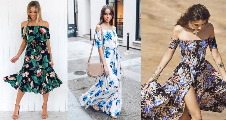 off the shoulder floral dresses