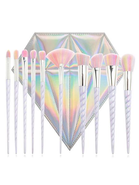 Portable Makeup Brush Unicorn Design Rainbow Color Fine Fiber 10 Piece